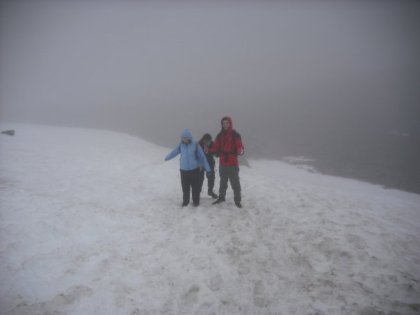 The snow field near the top!